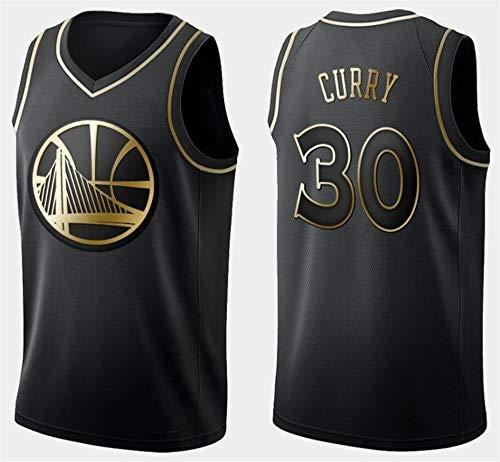 WSUN Pullover di Pallacanestro Maschile - Warriors NBA # 30 Stephen Curry Retro Maglie Respirabile Freddo Tessuto Swingman Maniche Canotta Abbigliamento,A,L(175~180CM/75~85KG)