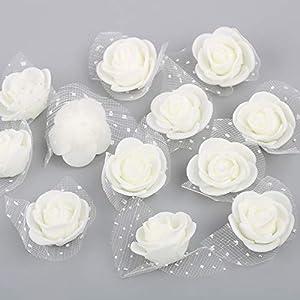 VINFUTUR 200pcs Rosas Artificiales Blancas Flores para Oso Rosas Falsas Espuma con Borde de Gasa para Decoración Regalos…