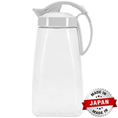 QuickPour Airtight Pitcher with Locking Spout Japanese Made - For Water, Coffee, Tea, Other Beverages - 2.3 Quarts - Clear with White Top