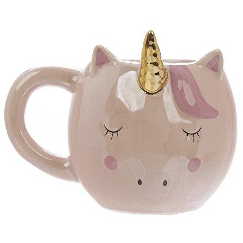 Close Up Süßer außergewöhnlicher 3D Einhorn Kaffeebecher - XXL 320 ml - Keramik Tasse - Kawaii - rosa/pink - goldenes Horn