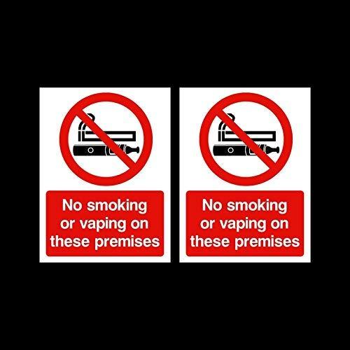 2 x Señales adhesivas para no fumar o vaporizar en estos locales 75 x 100 mm – Bar, Pub, negocios, CAF ¦