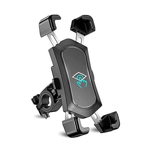 Cocoda Porta Cellulare da Bici Staccabile in Acciaio Inossidabile, Porta Cellulare Moto Anti Vibrazione con Rotazione a 360°, Compatibile con Tutti Gli Smartphone da 4.5' a 7.2'