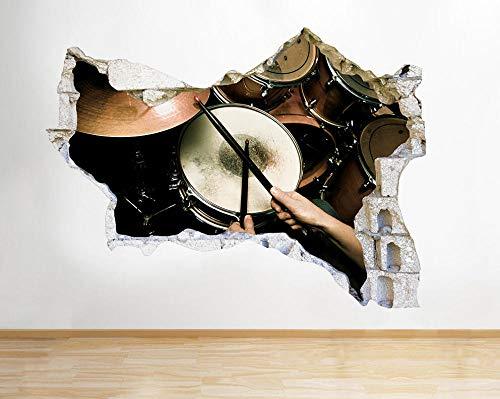 Pegatinas de pared 3D -- Tambores Música Banda -- Dormitorio Papel tapiz de vinilo Calcomanías de pared Pegatinas Etiqueta de la pared de Navidad 50X75CM