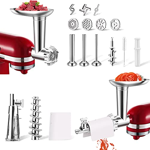 aikeec Accesorio para exprimidor de tomate + Accesorio para picadora de carne para batidora de pie Kitchenaid (reemplazo), Accesorio extractor de colador de verduras y jugo de frutas