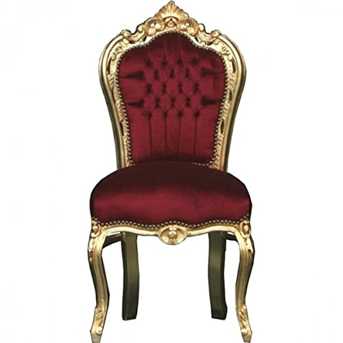 Casa Padrino Barock Esszimmer Stuhl Bordeaux/Gold - Möbel
