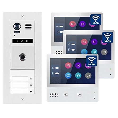 2-Draht Bus IP Video Türsprechanlage Fingerprint, 3 Familienhaus Set, 7\'\' Monitor mit oder ohne WLAN, Größe: 3x7\'\' Monitor mit WLAN Schnittstelle