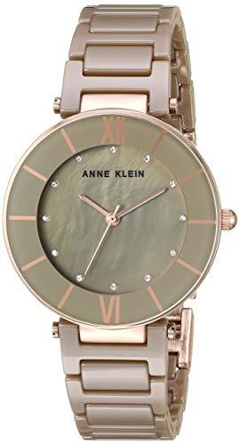 Anne Klein Women's AK/3344BKGB Swarovski Crystal Accented Gold-Tone and Black Ceramic Bracelet Watch
