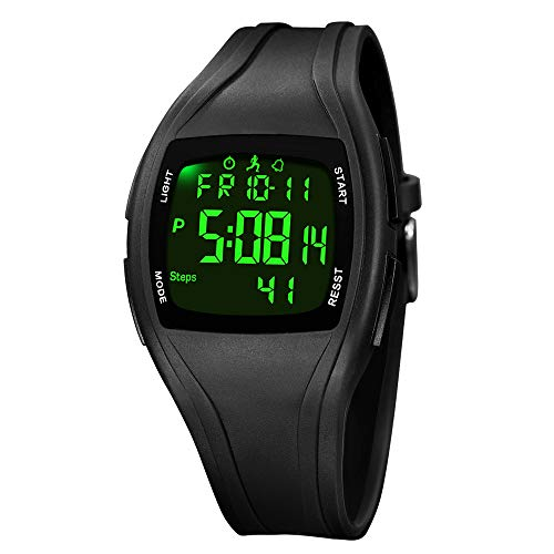 GEBER Mens Digital Sports Watch, Waterproof LED Backlight Large Face Military Watches Simple Army Watch for Men with Step/Calories/Distance Counter, Alarm, Stopwatch - Black