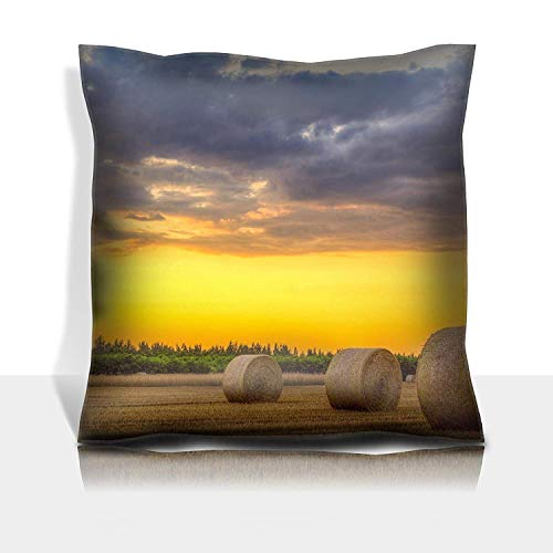 ZMYGH Throw Pillowcase Cotton Satin Comfortable Decorative Soft Pillow Covers Protector Sofa 18x18 1 Pack Sunset Over Rural Road and Farm Field with Hay Bales This pho
