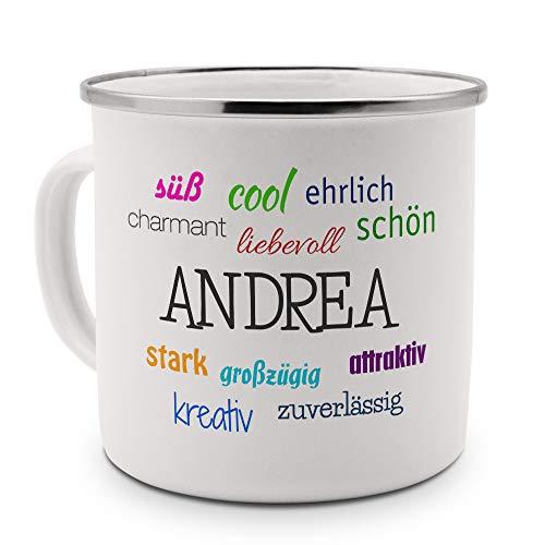 printplanet Emaille-Tasse mit Namen Andrea - Metallbecher mit Design Positive Eigenschaften - Nostalgie-Becher, Camping-Tasse, Blechtasse, Farbe Silber