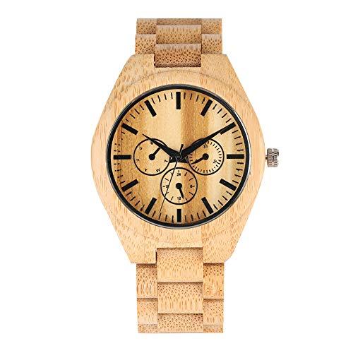 Armbanduhr für Herren, Quarzuhrwerk, natürliches Holz, digitales Display, Geschenk