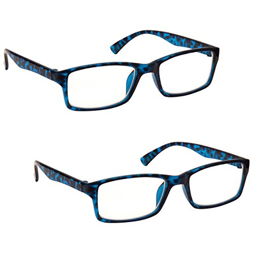 The Reading Glasses Company The Reading Glasses Company Die Lesebrille Unternehmen Leser Wert 2er-Pack Designer Stil Herren Frauen RR92-3 +2, 00 , Blau Schildpatt, 2 Stück