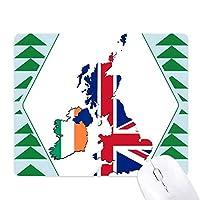 ユニオンジャック柄ブリテン地図の国の文化 オフィスグリーン松のゴムマウスパッド