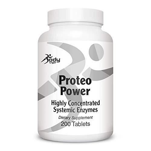 Body Vigor Proteo Power, Pancreatin 8X, Papain, Bromelain, Systemic Enzyme Complex, Enteric Coated, 200 Tablets
