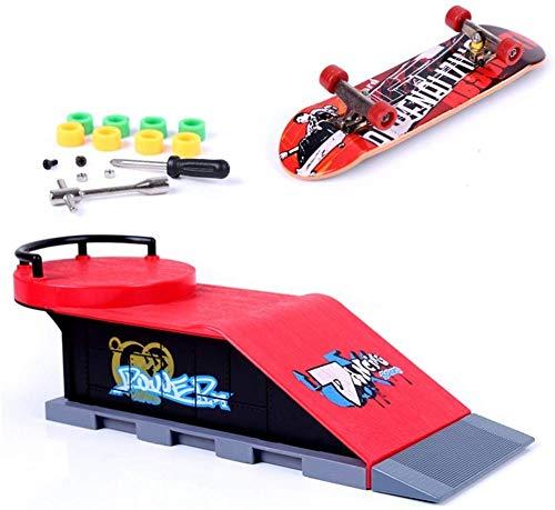 MOMSIV Mini Finger Toy Skateboard Skate Park Ramp Kit, Ultimate Parks Training Props (D)