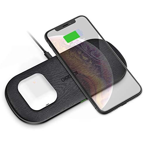 CHOETECH Cargador Inalámbrico Doble, 5 Bobinas Dual Fast Wireless Charger Qi Cargador Rápido para Airpods 2, 7.5W Compatible con iPhone XR/XS MAX/XS/X/8/8 Plus,10W S10/S9/S8 y 5W Teléfonos Qi-Enabled