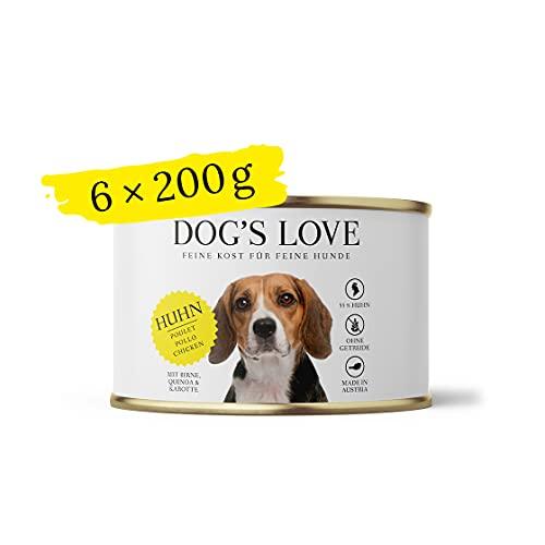 DOG'S LOVE Hundenassfutter getreidefrei geeignet als Alleinfuttermittel mit hohem Fleischanteil & optimalem Nährstoffmix - Premium – von Veterinären geprüft – Huhn Adult (6 x 200g)