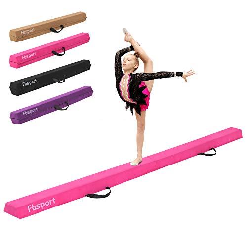 FBSPORT Faltender Schwebebalken, 240cm Gymnastik Balance-Balken, Gymnastikboden-Balken Balance-Balken-Leder-Balance-Fitness-Übungs-Ausrüstung für Kinder