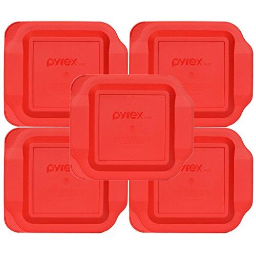 5 X Pyrex - Red 8''x8'' Square Baking Dish Lid