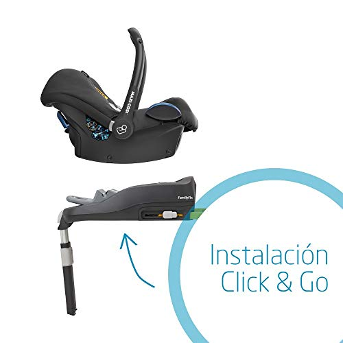 Maxi-Cosi CABRIOFIX 'Nomad Black' - Silla de auto reclinable y de alta seguridad para tu bebé, homologada R44/04, 0-12 meses, 0-13 kg, gr.0+, color negro
