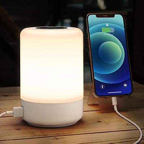 Loshuer Night Light Touch Table Lamp, 4 Quickly Charge USB Port Bedside Lamps with Dimming Warm White Light 13 Colors RGB Led Lamp for Bedroom Living Room Office Hallways (White)