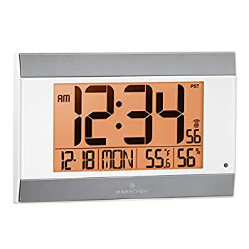 Marathon Large Atomic Wall Clock with Auto Backlight Calendar Temperature and Humidity - Batteries Included - CL030052 White/Silver