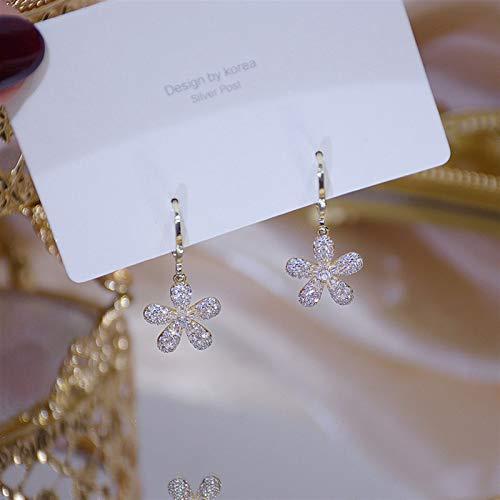 Pendientes de oro auténtico de 14 quilates con diseño de flor de circonita AAA para mujer, diseño de estrella de mar, ideal como regalo de boda, cumpleaños (color de gema: flor).