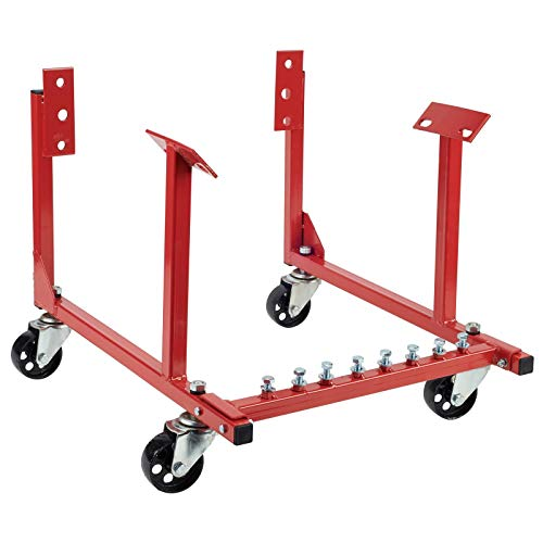 Rolling Engine Cradle Stand with Wheels, Fits Chevy V8 Small Block and Big Block, Steel Construction, Built in Hardware Storage, Easy Assembly
