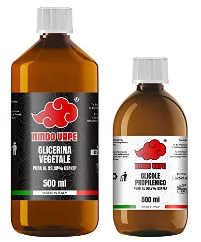 NINDO Kit Base Neutra 1 Litro 50VG 50PG | Glicerina Vegetale (99,98%) + Glicole Propilenico (99,7%) | 100% Made in Italy | Privo di OGM e Allergeni | Grado Farmaceutico Certificato