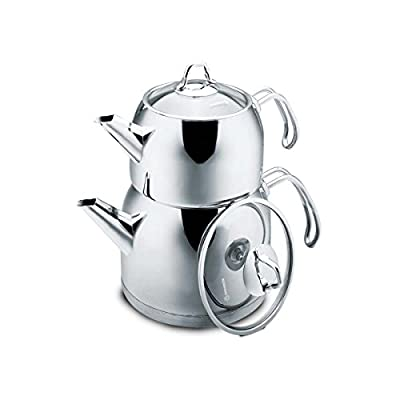 Korkmaz Provita Maxi Capsulated Turkish Tea Pot Set with Ergonomic Handle, Polish Finish, 1.1 & 2 Quart