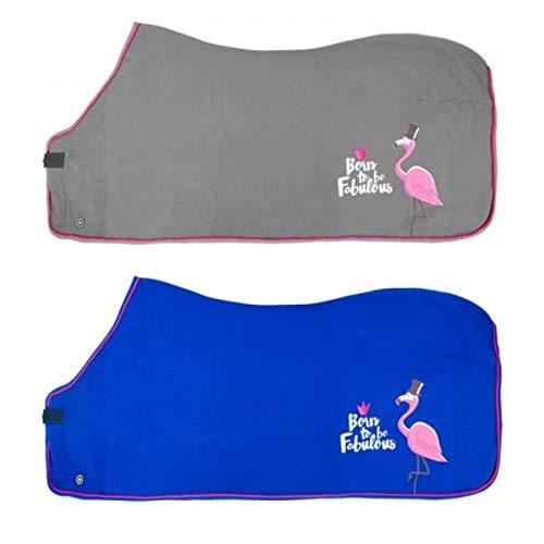 PFIFF 102521 Pferde Fleecedecke Fabulous Flamingo, Fleece Pferdedecke, Grau 135