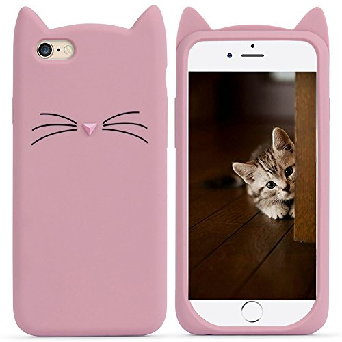 Cat iPhone 7 8 SE Case Cute Funny Kitty Design Glitter Silicone Soft Protective Cover for Girls Child for iPhone 7 8 SE 2020 4.7 Inch Pink Red Lovely 3D Whiskers Ears Cats Kitten Skin for Teens Kids