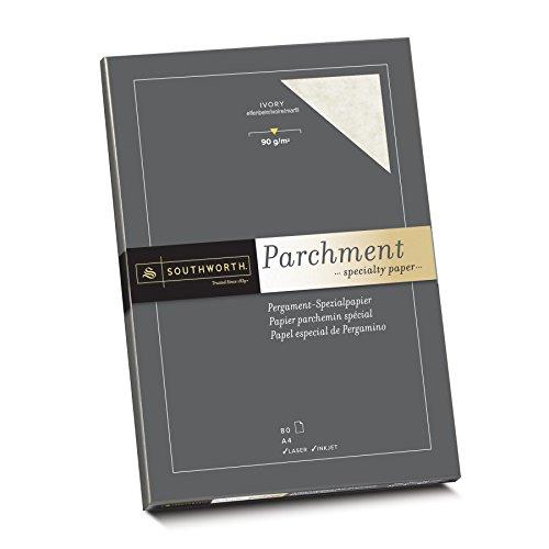 Southworth 90150 Pergament Papier 25% Baumwolle, DIN A4, elfenbein, mit Wasserzeichen 90g/qm, 80 Blatt im Karton