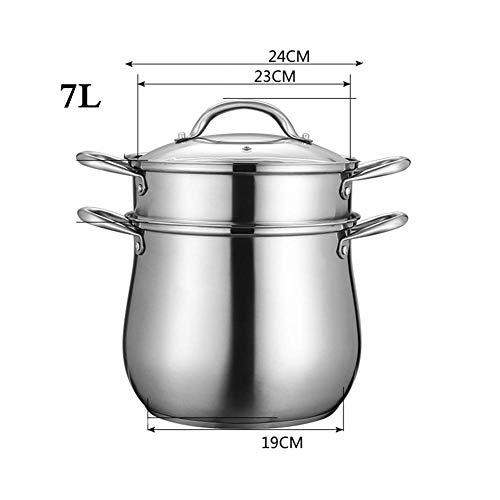 8bayfa 304 roestvrij stalen soeppan met deksel van gehard glas en handgrepen met goede hechting, 2,22 cm 24cm 2