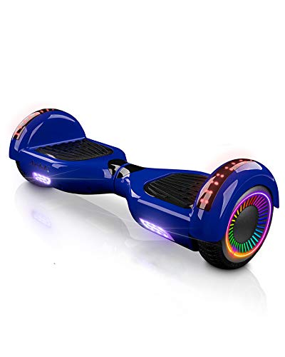 """ACBK - Hoverboard Patinete Eléctrico Autoequilibrio con Ruedas de 6.5"""" (Altavoces Bluetooth + Ruedas Led integradas) Velocidad máxima: 10-12 km/h - Autonomía 10-12 km (Azul)"""