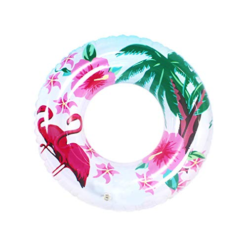 Queta 3X Neumáticos natación Tres tamaños Flotador Rueda Hinchable Piscina Boya gigante Multicolor Aillo de natación para niños adultos Diferentes Motivos (Flamenco / hojas de palma / fruto)