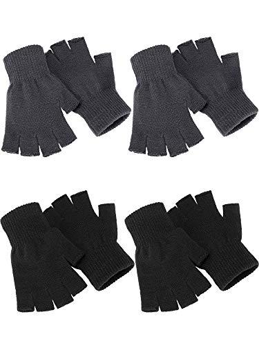 4 paia di guanti invernali a mezze dita lavorati a maglia, caldi ed elasticizzati, per uomini e donne - - Medium