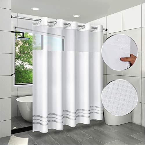 ARICHOMY Duschvorhang-Set, Waffelgewebe, Duschvorhang-Set, 250 g/m², hakenloses herausnehmbares Futter, wasserabweisend, maschinenwaschbar, 180 x 188 cm, Weiß