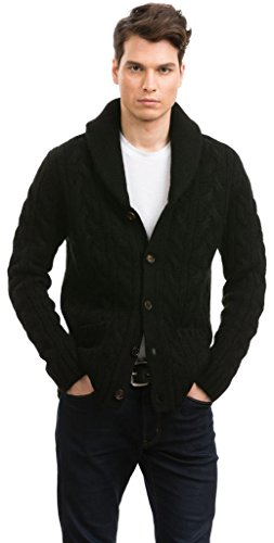 Citizen Cashmere Shawl Collar Cardigans - 100% Tibetan Yak Wool (Black), XL, (42 123Y-02-04)