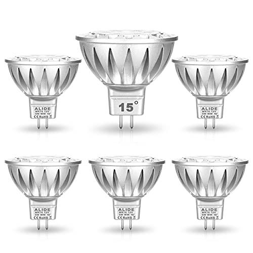 ALIDE MR16 Led Bulbs 15 Degree (15°)Narrow Beam Angle,GU5.3 MR16 20W-35W Halogen Equivalent,5W,450LM,2700K Soft Warm White,12V Low Voltage MR16 Led Bulbs for Landscape Ceiling Track Lighting,6Pack