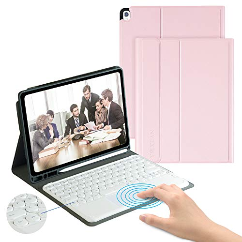 iPad Keyboard Case with Touchpad for iPad 8th Gen(2020)/7th Gen(2019) 10.2 Inch-Detachable Wireless Keyboard Case for iPad Air 3 10.5/iPad Pro 10.5,Bulit-in Pencil Holder,Auto Sleep/Wake (Rosegold)