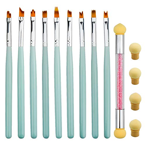 Pennelli Gel Unghie, 10 Pezzi Pennelli per Unghie Art Design e Spugna Pennello Boomer, Pennello Sfumature Unghie Polacco Pittura Decorazione Kit