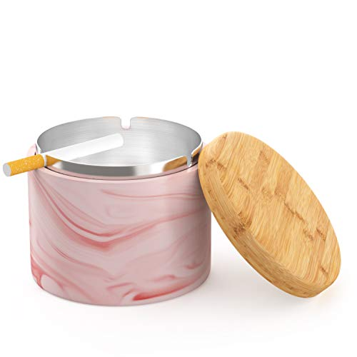 SEA or STAR Keramischer Aschenbecher mit winddichtem Deckel für Zuhause oder im Freien Aschenbecher für Zigaretten(rosa)