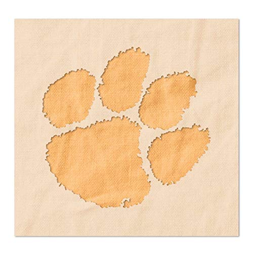 Clemson Tigers Paw Logo Stencil - Reusable 14 Mil Mylar Plastic (2 x 1.92 inches)