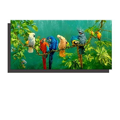 Pintura de lienzo Digital SKRIILY, póster con estampado de loros coloridos para sala de estar, cuadro artístico para pared, decoración del hogar, regalo