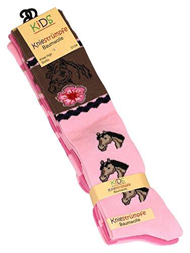Cotton Prime 3 Paar Kinder Kniestrümpfe mit Pfrede Motiven, Baumwolle (ÖKO-Tex Standard 100 zertifiziert)