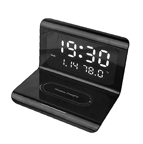 shentaotao Multifuncional Reloj Despertador Cargador inalámbrico LED eléctrico 3-en-1 de Carga del...