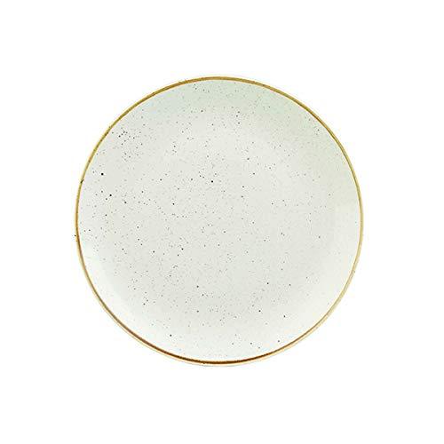 Visiodirect Lot de 12 Assiettes Plates stonecast Ivoire - 28,8 cm