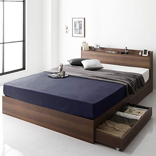 ベッド 収納付き 引き出し付き 木製 棚付き 宮付き コンセント付き シンプル モダン ブラウン シングル ベッドフレームのみ 『Absol』 アブソル