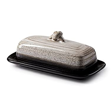 ROSCHER Ceramic Butter Dish w/Handle (Midnight) Cover and Plate 2-Piece Combo | Dark, Contemporary Kitchen Décor | Decorative, Modern Design for Kitchen, Dining Room